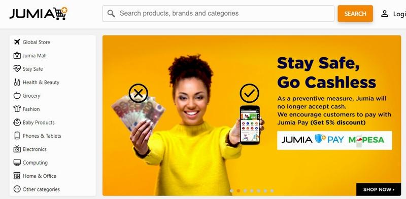 相片: Jumia支援電子支付服務M-Pesa。