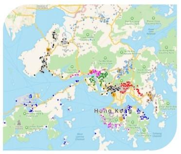 图片: CSL Mobile的5G网络覆盖点。资料来源:香港电讯
