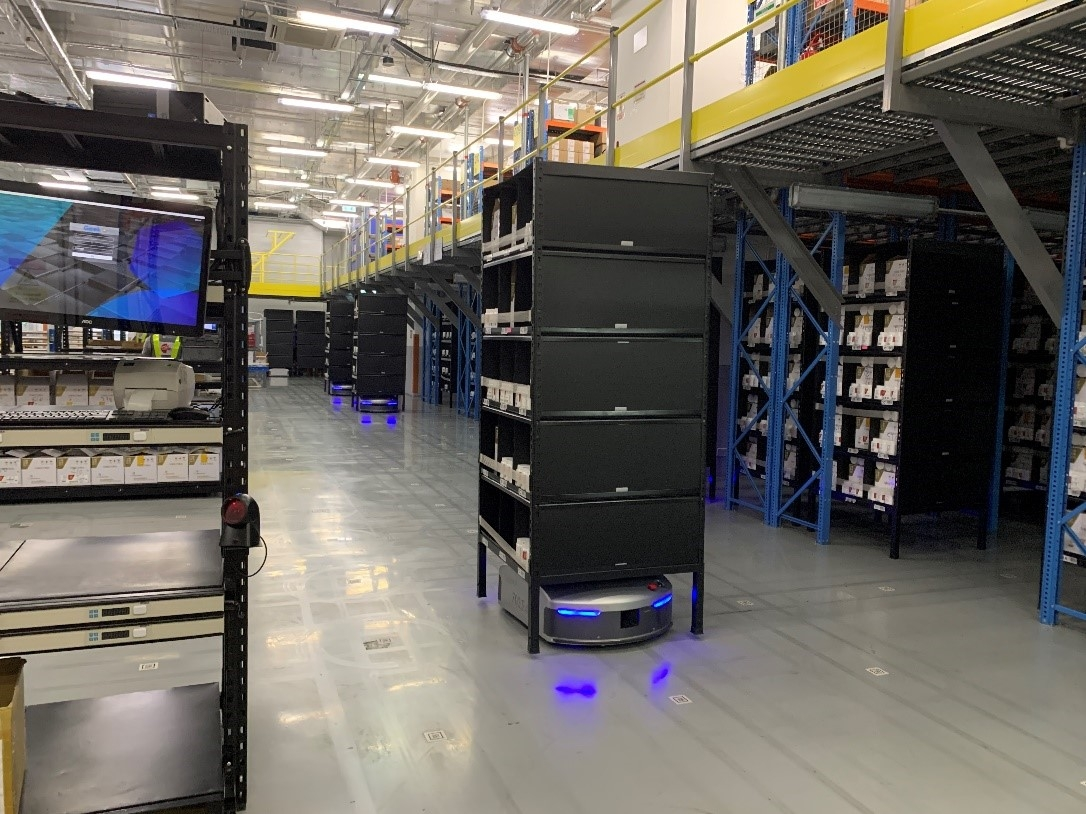 Photo: Automated guided vehicles (AGVs) sorting and retrieving at DKSH's distribution hub.